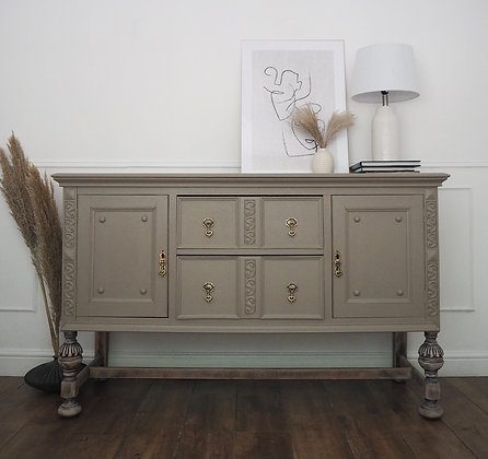 Chunky oak vintage sideboard in taupe wooden legs