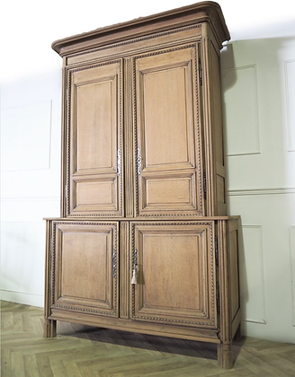 Large antique French Kitchen Larder Unit Cupboard in raw wood
