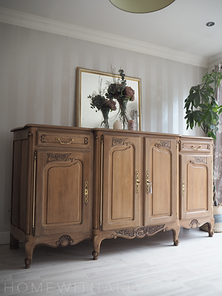 Large french Louis antique sideboard in limed oak