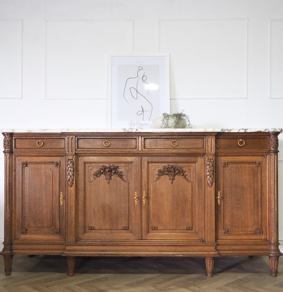 Large French oak Antique Sideboard Louis xvi style Marble top