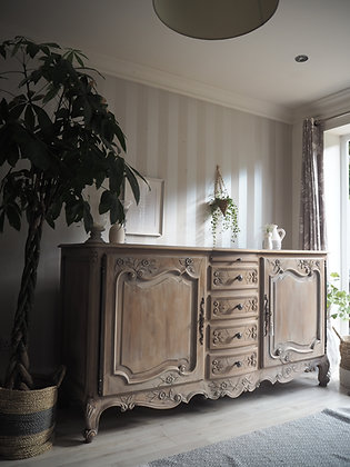 Large solid oak farmhouse rustic white washed limed oak chunky french sideboard