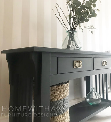 Solid wooden ash black console table