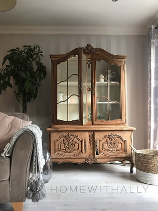 French Louis XV Display Cabinet Glass Doors Wooden Shelves