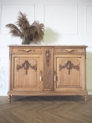 Large French antique walnut raw wood washstand Cupboard cabinet sideboard