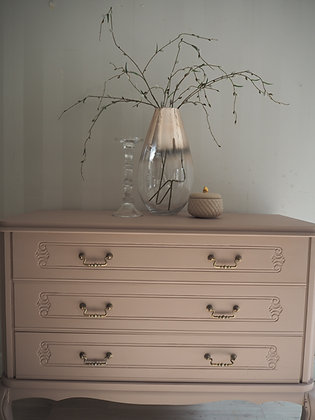 French oak Louis drawers painted dusky pink