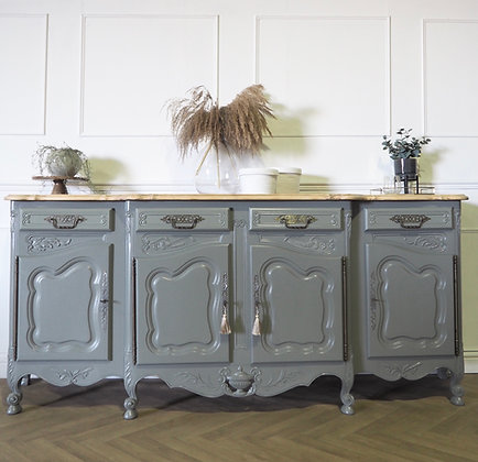 Large French Vintage Rococo Style Sideboard in Grey Green Wooden Top