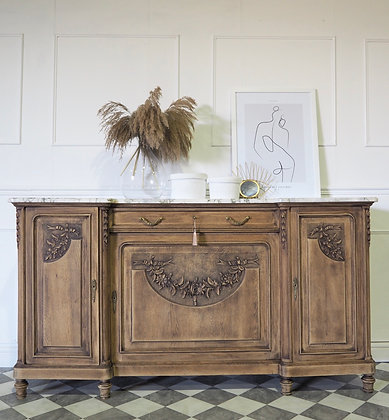 Large French antique Sideboard with Marble Top in raw wood