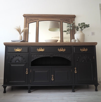 Large Antique Sideboard in Ash Wooden Top