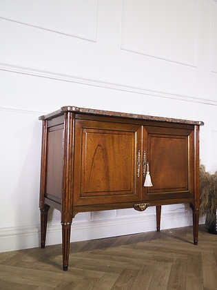 Small French Louis xvi style vintage mahogany Cupboard marble top
