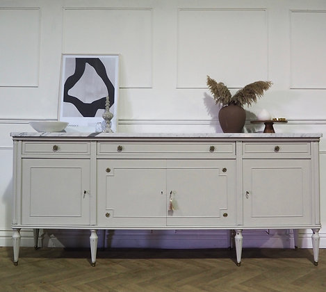 Large French Louis XVI Style Vintage Sideboard in Grey
