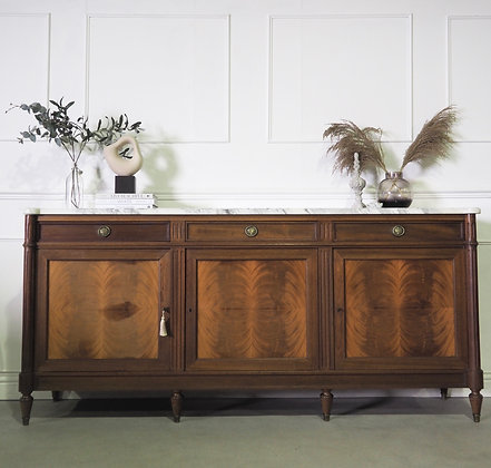 Large French Louis XVI style Mahogany Sideboard with White Marble Top