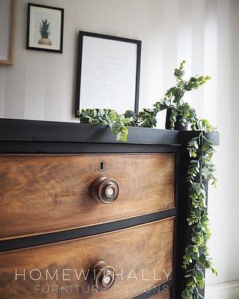 Large Victorian mahogany drawers black and wood