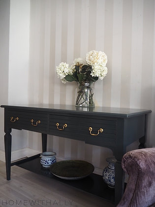 Glossy grey black console table desk dresser