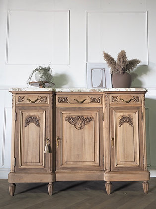 French antique Sideboard Drawers in raw Wood Marble Top