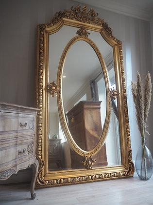 Very large gilt antique floor freestanding ornate mirror