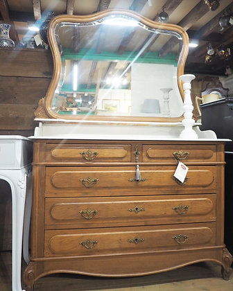 French Louis XV Chest of Drawers with marble top mirror dresser