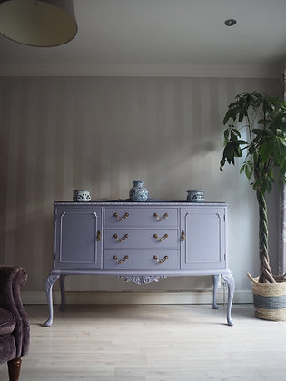French walnut inlaid sideboard with glass top in purple Lilac gloss