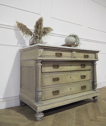 French antique drawers in weathered oak marble top