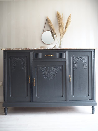 French Antique Washstand Cabinet Marble Top in ash Black