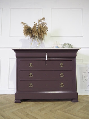 Large French Louis Philippe chest of Drawers Commode in purple with marble top