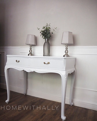 French walnut console table dresser in light grey white gloss