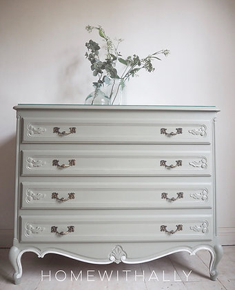 Large French solid oak Louis XV Chest of drawers in duck Egg