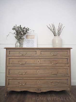 Large antique French Louis Oak Chest of Drawers Sideboard