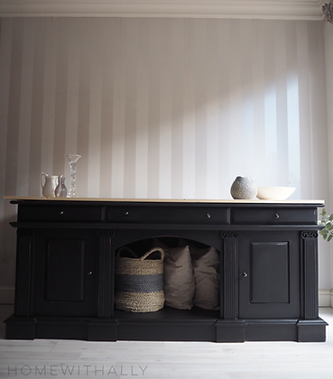 Large modern solid oak sideboard in black with wooden top