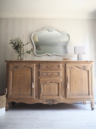 French Louis XV Style Antique Sideboard in limed oak