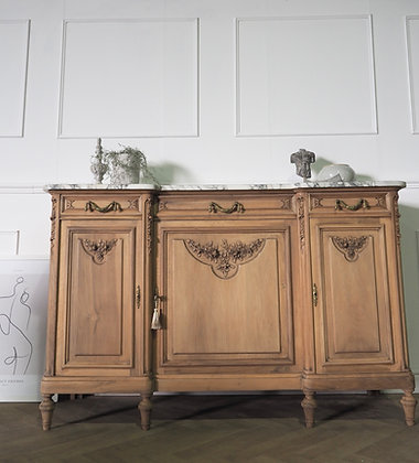 Large French antique Walnut sideboard with marble top