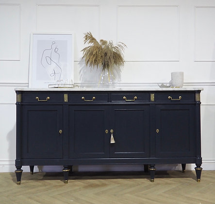 Large French Louis XVI Style sideboard Marble top blue
