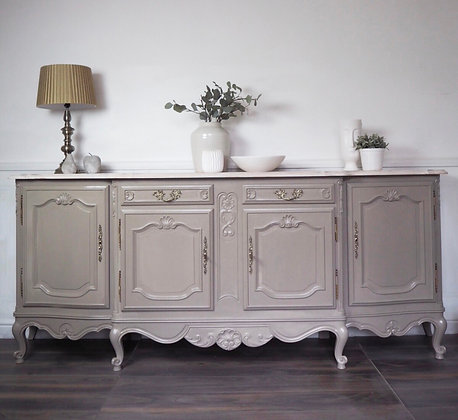Large French Rococo Sideboard in Cream with Limed Oak top