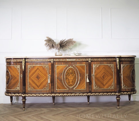 Large Vintage French Louis XVI Style Sideboard Buffet by JP Ehalt Marble Top