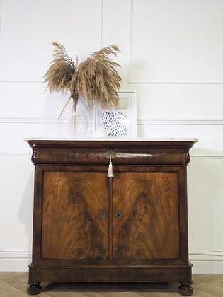 Antique French Walnut cabinet Commode with Marble top