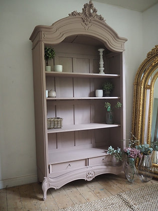 Large French armoire bookcase shelves linen press