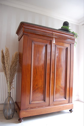 French antique Louis Philippe armoire cabinet cupboard marble top