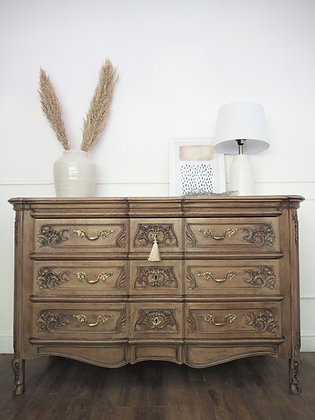 Large Solid oak Antique French Louis Chest of Drawers Sideboard in weathered oak