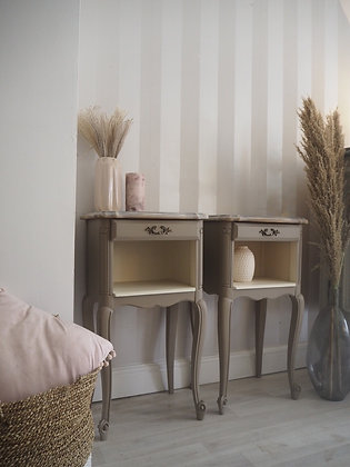 French Louis XV bedside tables in taupe