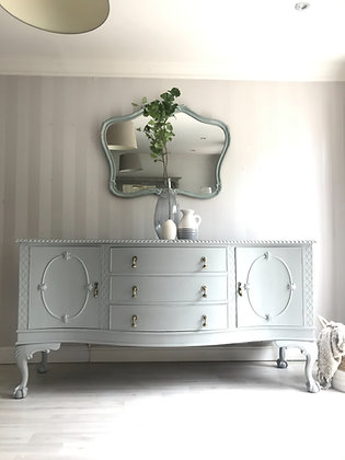 Large heavy curved sideboard in grey ball and claw feet