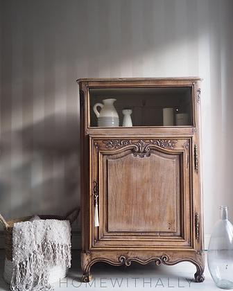 Rustic french cabinet cupboard mini armoire in limed oak raw wood