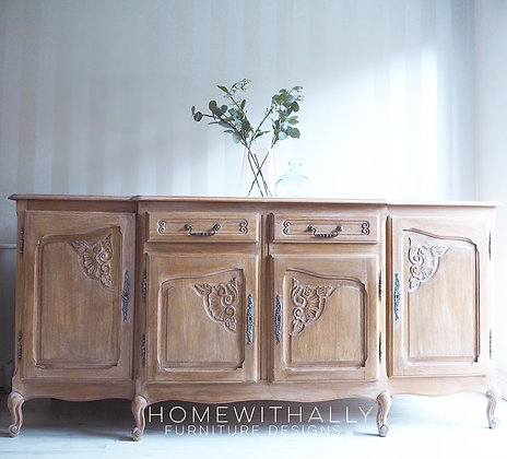 Large solid oak French Louis sideboard in a weathered wood