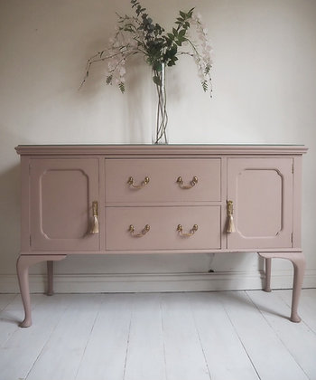 French style sideboard painted pink with glass top