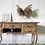 Thumbnail: French vintage Louis XV style oak desk with glass top