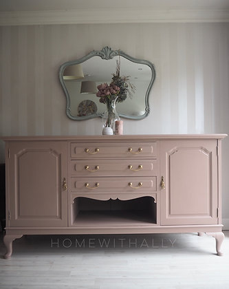 Large vintage sideboard in dusky pink