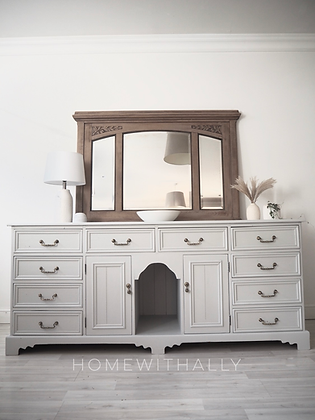 Solid pine sideboard dresser drawers in light grey