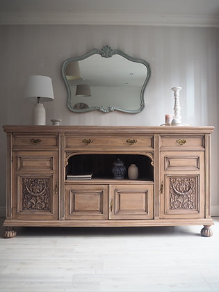 Large rustic antique sideboard in raw wood limed oak