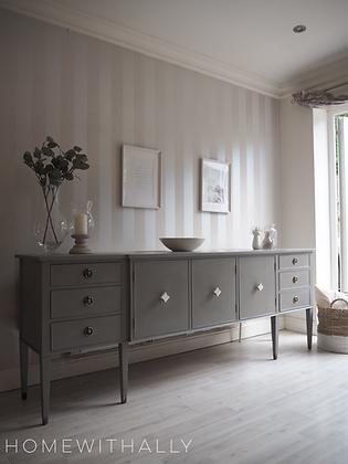 Large modern grey / beige taupe sideboard marble handles