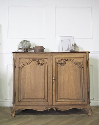French Antique Cupboard in raw wood rustic farmhouse