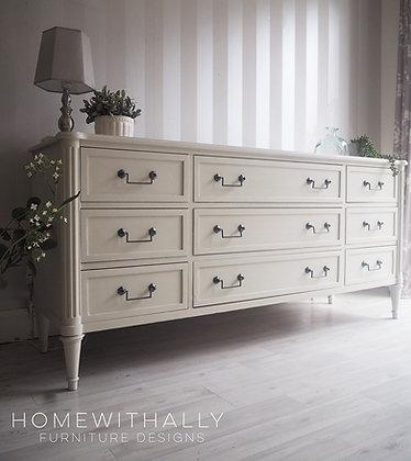 Nine drawer dresser sideboard in a warm white