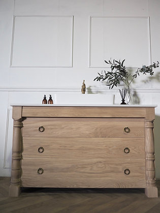 'Halle' Large antique Inspired Bathroom vanity Oak